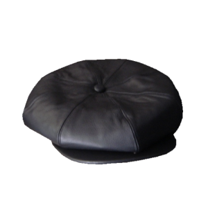 Leather  8 Sections cap - Black