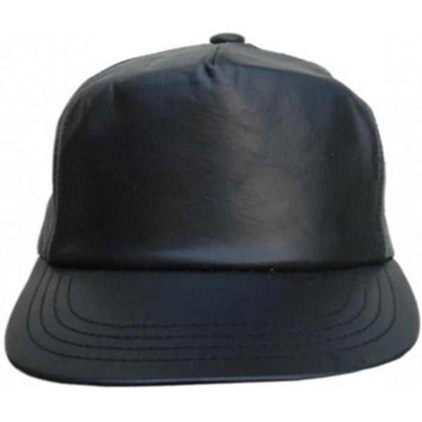 Leather Baseball Cap - Black