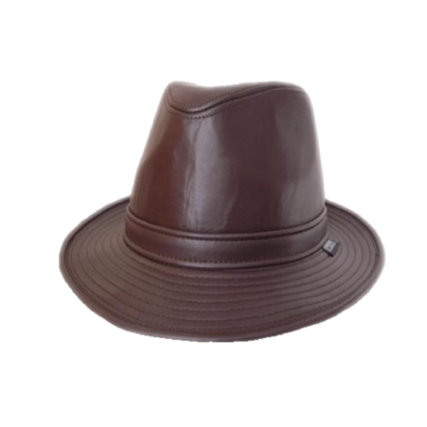 Leather Trilby - Brown