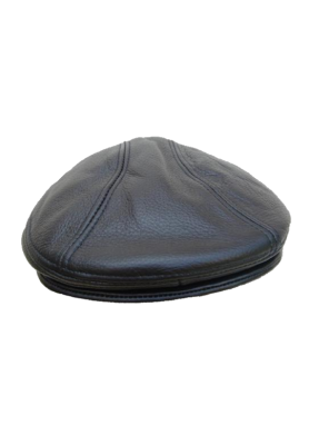 Flat Cap - In Black Leather