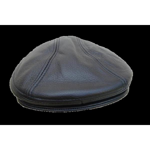 Flat Cap - In Black Leather
