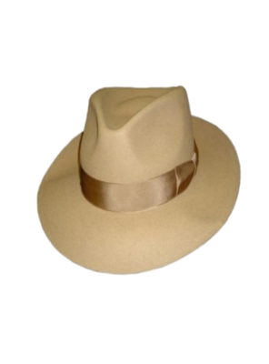 Low Crown Fedora Hat - Beige