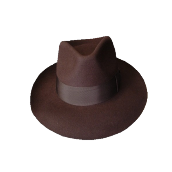 Low Crown Fedora Hat - Brown