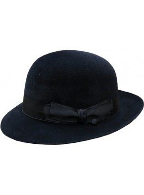 Open Crown Fedora Hat - Black
