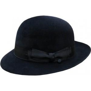 Open Crown Fedora Hat - Black