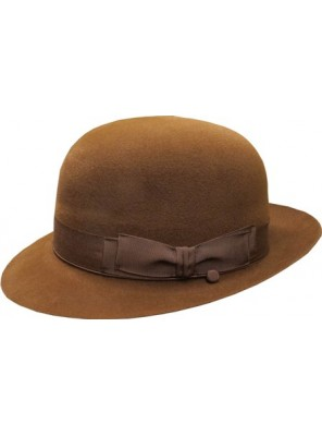 Open Crown Fedora Hat - Mid Brown