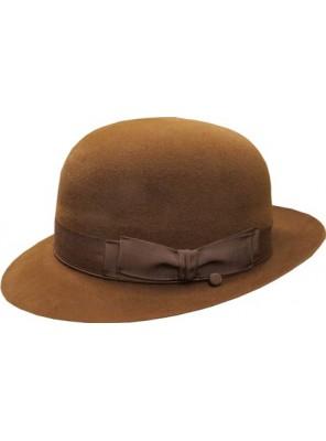 Open Crown Fedora Hat - Mid Brown